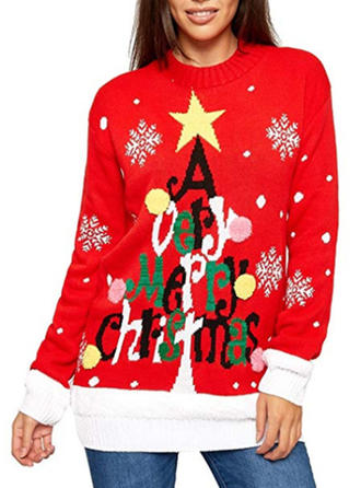Women's Polyester Print Cable-knit Ugly Christmas Sweater