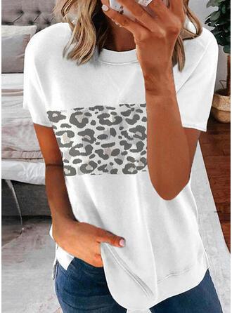 Leopard Trykk Rund hals Kortermer T-skjorter