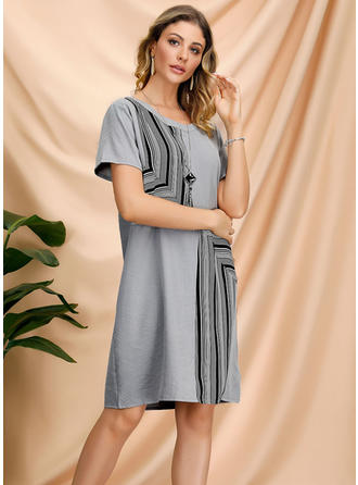 Striped/Patchwork Short Sleeves Shift Knee Length Casual Dresses