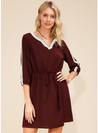 Lace/Solid 3/4 Sleeves A-line Above Knee Casual Dresses