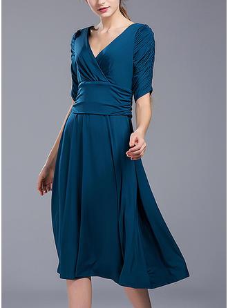 Solid 1/2 Sleeves A-line Knee Length Elegant Dresses