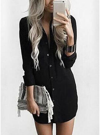 Solid Shirt collar Above Knee Shift Dress