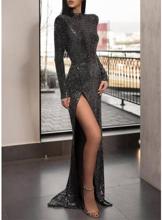 Sequins Long Sleeves Sheath Maxi Little Black/Party Dresses