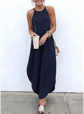 Solid Sleeveless Shift Casual/Vacation Maxi Dresses