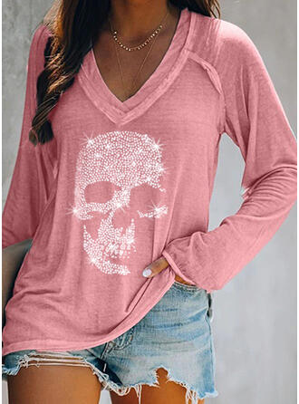 Sequins V-Neck Long Sleeves T-shirts
