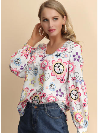 Print V Neck Long Sleeves Casual Blouses