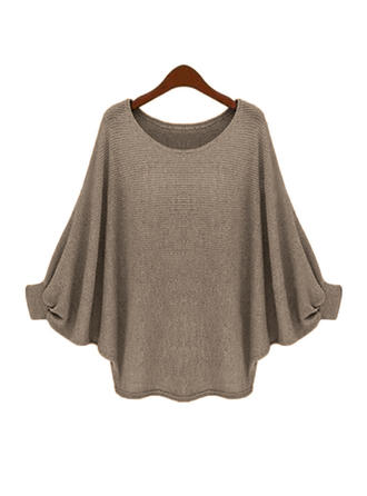 Plain Round Neck Batwing Sleeve Long Sleeves Casual Blouses
