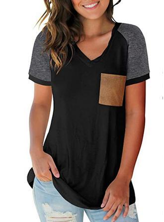 Geblockte Farben V-Ausschnitt Kurze Ärmel Freizeit T-shirts