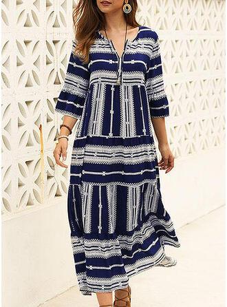 Print 1/2 Sleeves Shift Casual/Vacation Midi Dresses