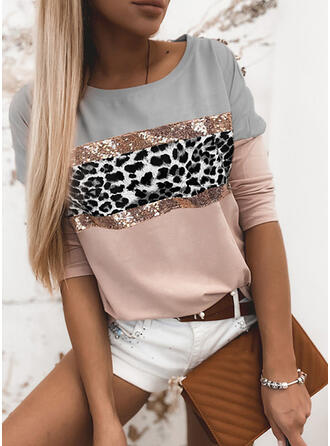 Color Block Sequins Leopard Round Neck Long Sleeves Casual Blouses
