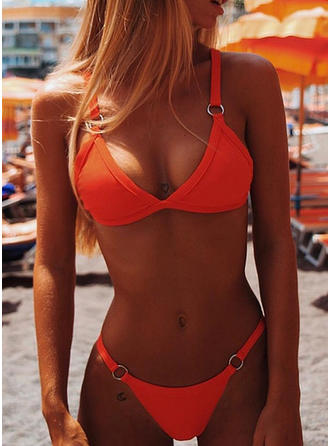 Solid Color Neon Strap Sexy Bikinis Swimsuits
