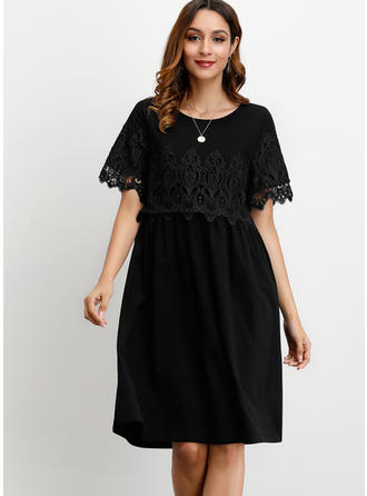 Lace/Solid Short Sleeves Shift Knee Length Little Black/Casual Dresses