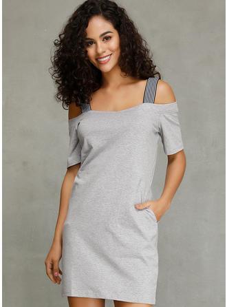Solid Cold Shoulder Sleeve Shift Above Knee Casual Dresses