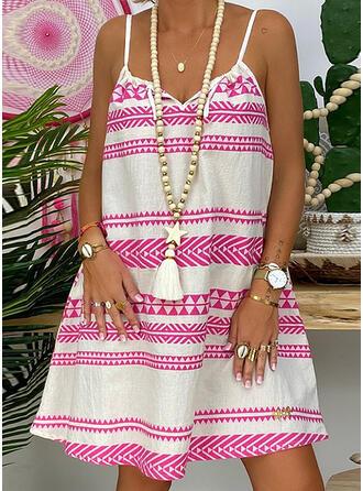 Print Sleeveless Shift Knee Length Sexy/Casual/Vacation Dresses
