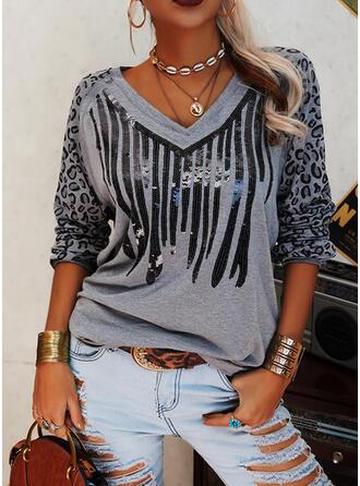 Pailletter Leopard V-hals Lange ærmer Casual T-shirts