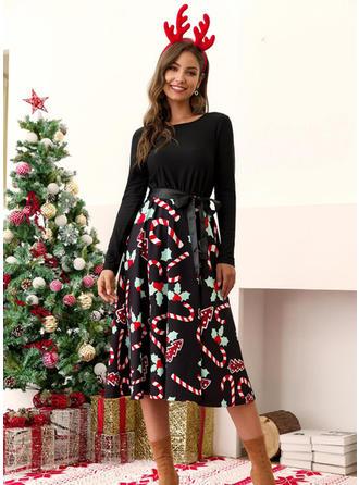 Print Long Sleeves A-line Midi Vintage/Christmas/Casual/Elegant Dresses