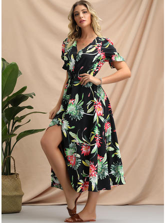 Print/Floral Short Sleeves A-line Midi Casual/Vacation Dresses