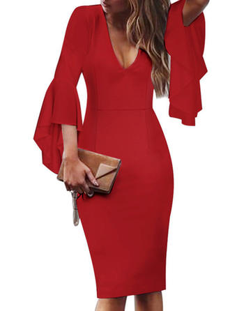Solid Flare Sleeves Bodycon Knee Length Party/Elegant Dresses