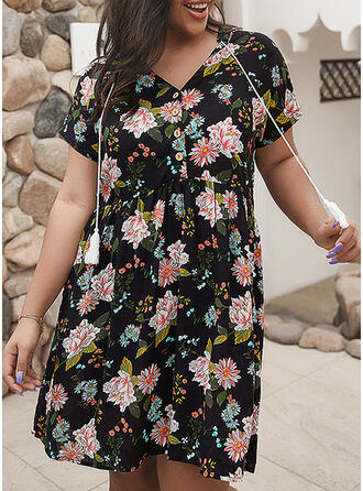 Print/Floral Short Sleeves A-line Knee Length Casual/Vacation/Plus Size Dresses