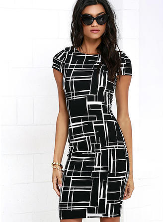 Spandex/Cotton Blends With Print Knee Length Dress