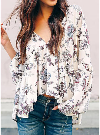 Cotton Blends V Neck Floral Long Sleeves Ruffle Blouses