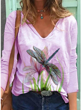Floral Animal Print V-Neck Long Sleeves Casual T-shirts