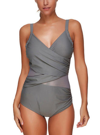 Solid Color V-neck Sexy Plus Size One-piece Swimsuits