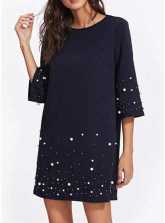 Polyester With Beaded Above Knee Dress