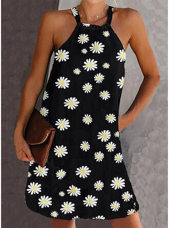 Print/Floral Sleeveless Shift Above Knee Sexy Dresses