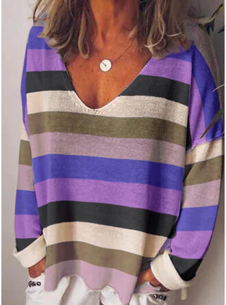 Striped V-Neck Long Sleeves Casual T-shirts