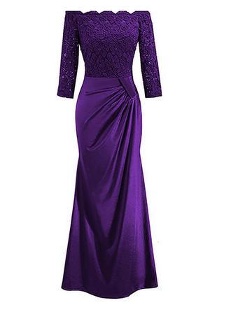 Koronka Solidny Dekolt typu Carmen Maxi Sukienka Dopasowana