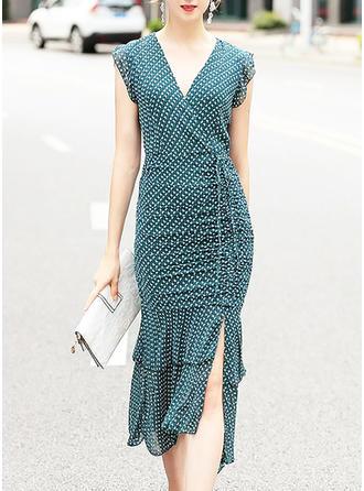 Solid V-neck Asymmetrical Sheath Dress