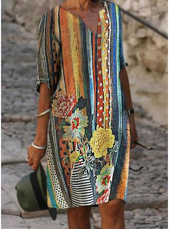 Impresión/Floral Mangas 1/2 Tendencia Hasta la Rodilla Casual/Vacaciones Túnica Vestidos