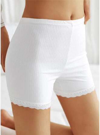 Solid Lace Casual Pants Shorts Leggings