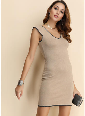Solid Cap Sleeve Sheath Above Knee Casual Dresses