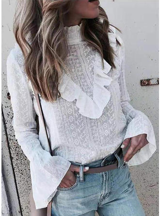 Solido Alzarsi il colletto Maniche lunghe Casuale Camicie