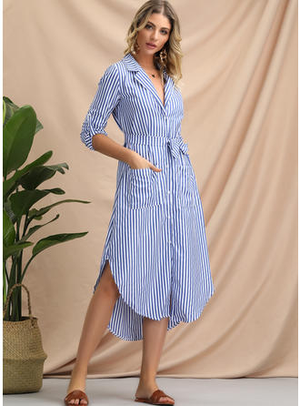 Striped 1/2 Sleeves A-line Asymmetrical Casual Dresses