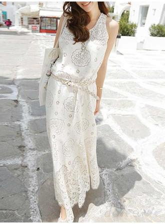 Lace Hollow Round Neck Maxi Shift Dress