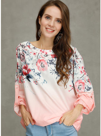 Floral Round Neck Long Sleeves Casual Elegant T-shirts