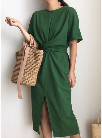 Solid 1/2 Sleeves Sheath Midi Casual Dresses