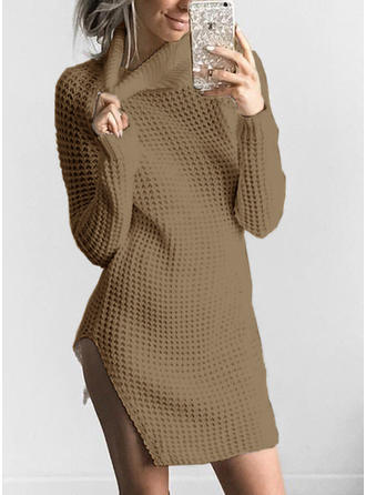 Polyester Turtleneck Plain Sweater Dress