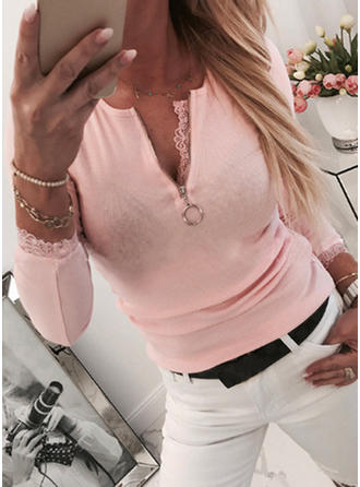 Solid V-neck Long Sleeves Casual Sexy Blouses