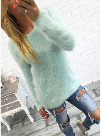 Polyester Round Neck Plain Chunky knit Sweater