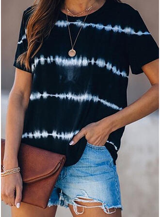 Print Striped Round Neck Short Sleeves Casual T-shirts