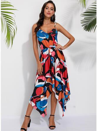 Geometric Print Sleeveless A-line Casual/Vacation Midi Dresses