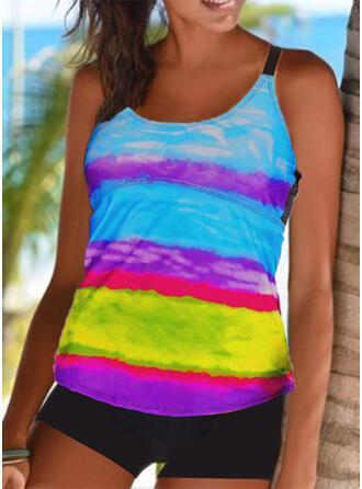 Print Splice color Strap U-Neck Vintage Plus Size Tankinis Swimsuits