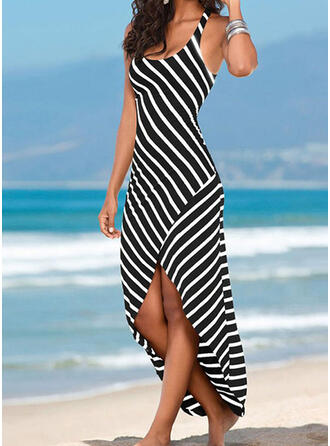 Striped Sleeveless Sheath Asymmetrical Casual/Vacation Dresses