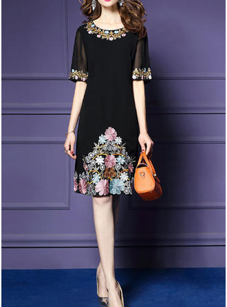 Embroidery Round Neck Knee Length Sheath Dress