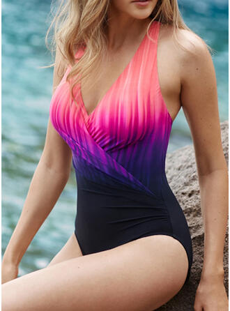 Pente Dos Nu Col V Sexy Colorful Une pièce Maillots De Bain