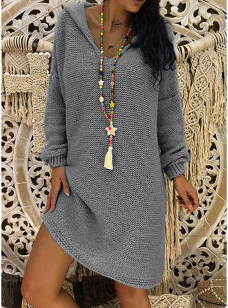Solid/Chunky knit/Waffle Knit Long Sleeves Shift Above Knee Casual/Long/Oversized Dresses